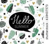 hello summer. cute vector... | Shutterstock .eps vector #618437573