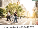 couple of cyclist in new york   ... | Shutterstock . vector #618442673