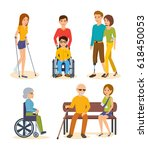 disabled people and friends... | Shutterstock .eps vector #618450053