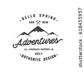 vintage adventure hand drawn... | Shutterstock .eps vector #618455957