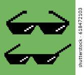 pixel sunglasses.  flat design... | Shutterstock .eps vector #618472103