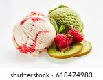 high angle still life of scoops ... | Shutterstock . vector #618474983