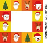 colorful square christmas frame ... | Shutterstock .eps vector #618484103