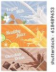 healthy natural vegetarian... | Shutterstock .eps vector #618489653