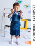 cute  happy  white  three year... | Shutterstock . vector #618489737