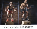young fit couple are in a good... | Shutterstock . vector #618510293