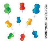 push pins set illustration  | Shutterstock . vector #618513953