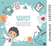welcome medical service card... | Shutterstock .eps vector #618515933