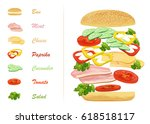 sandwich ingredients with text... | Shutterstock . vector #618518117
