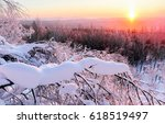 Winter Sunset In Winter Snow...