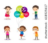 preteen kids cartoon characters ... | Shutterstock .eps vector #618525617