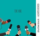 reporters in live holding...   Shutterstock .eps vector #618533303