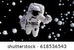 astronaut flying between... | Shutterstock . vector #618536543