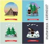 vector set of wild north... | Shutterstock .eps vector #618540107