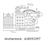 vector city illustration in... | Shutterstock .eps vector #618551597