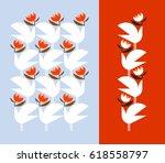 white bird holding red flower.... | Shutterstock .eps vector #618558797