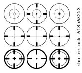 set of 9 targets icons in flat... | Shutterstock .eps vector #618568253