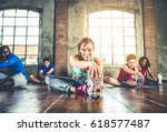 group of sportive people... | Shutterstock . vector #618577487
