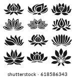 vector set of lotus icons on... | Shutterstock .eps vector #618586343