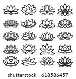 vector set of lotus icons | Shutterstock .eps vector #618586457