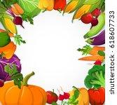 vegetables decorative frame... | Shutterstock .eps vector #618607733