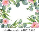 watercolor hand painted square... | Shutterstock . vector #618611567