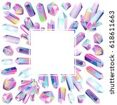 crystals square frame.... | Shutterstock .eps vector #618611663