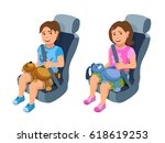 little boy and girl travel in... | Shutterstock .eps vector #618619253