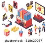 cinema movie isometric set of... | Shutterstock .eps vector #618620057