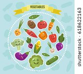 cartoon vegetables with faces... | Shutterstock .eps vector #618622163