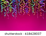 colorul party streamers on... | Shutterstock . vector #618628037