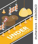 road repair  under construction ... | Shutterstock .eps vector #618630623