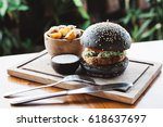 vegetarian burger made with... | Shutterstock . vector #618637697