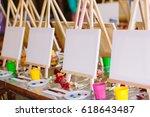 painting at art school. | Shutterstock . vector #618643487