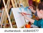 painting at art school. | Shutterstock . vector #618643577