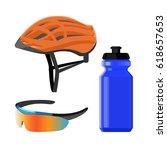 cycling sportswear helmet ... | Shutterstock .eps vector #618657653