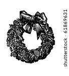 christmas wreath   retro clip...