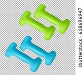 dumbbells isolated on... | Shutterstock . vector #618696947