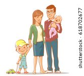 family portrait. father  mother ... | Shutterstock .eps vector #618702677