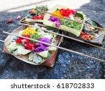 multiple balinese canang sari... | Shutterstock . vector #618702833