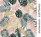 seamless tropical pattern with... | Shutterstock .eps vector #618706463