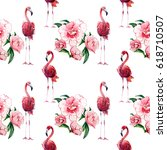 watercolor pattern with pink... | Shutterstock . vector #618710507
