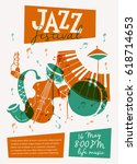 vector jazz festival poster... | Shutterstock .eps vector #618714653