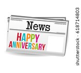 happy anniversary newspaper.... | Shutterstock .eps vector #618714803