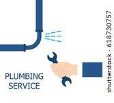plumbing service  repair fix... | Shutterstock .eps vector #618730757