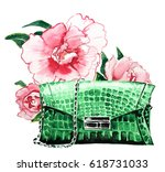 fashionable bag with flowers... | Shutterstock . vector #618731033