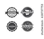 spanish restaurant cuisine... | Shutterstock .eps vector #618737753
