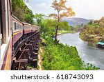 train on wang pho viaduct ... | Shutterstock . vector #618743093