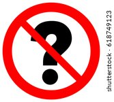 no questions  red prohibition... | Shutterstock .eps vector #618749123