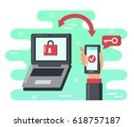two steps authentication...   Shutterstock .eps vector #618757187